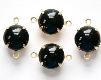 Vintage Smooth Jet Black Glass Stones 2 Loop Brass Settings 12mm rnd004Y2