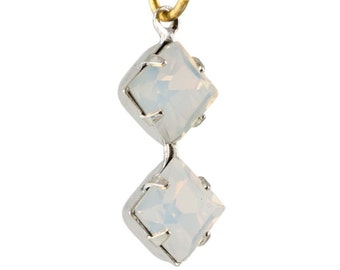 White Opal Faceted Square Glass Stones Double 1 Loop Silver Plated Setting 6mm (4) squ013RR3
