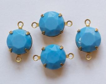 Vintage Turquoise Blue Faceted Glass Stones 2 Loop Brass Settings 12mm rnd004N2