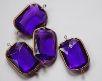 2 Loop Brass Channel Set Faceted Amethyst Acrylic Charms chr164B