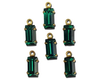 Vintage Emerald Faceted Baguette Glass Stones 1 Loop Brass Settings 8x4mm (6) bag001A