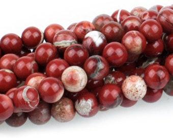 "Dakota Stones White Lace Red Jasper 8mm Round Gemstones. 8"" Strand. WLR8RD-8"