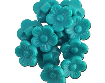Vintage Green Plastic Flower Buttons 16mm btn005C