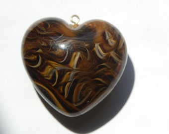 Brown and Cream  Swirled Large Puffy Lucite Vintage Heart Pendant (1) pnd069B