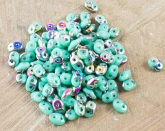 "Turquoise Vitral SuperDuo Beads 2/5mm 2.5"" Tube 364-25-V6313/C"