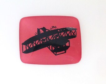 Vintage Airplane Biplane Pink Black Intaglio Cabochon (1) int018B