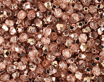 Czech Faceted Apollo Gold Fire Polish Glass Beads 3mm (50)