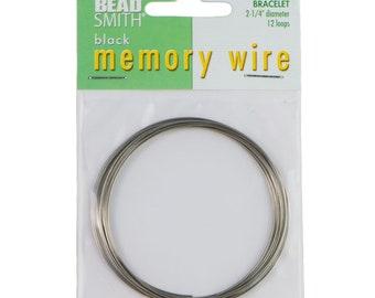 """Beadsmith Black Memory Wire 2-1/4"""" Diameter, 12 Loop"""