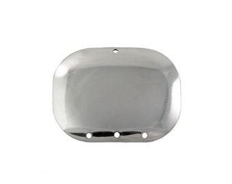 4 Hole Silver Dapped Rectangle Connector Pendant (4) mtl174E