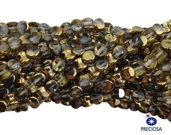 Preciosa Crystal Clear with Gold Glass Czech Pellet Beads 4x6mm (50) czh027M