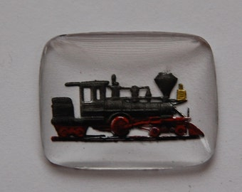 Vintage Glass Reverse Painted Train Intaglio int008