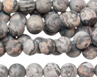 "Dakota Stones Matte Silver Crazy Lace Agate 6mm Round Gemstones 8"" Strand SCA6RD-M-8"