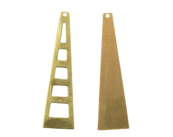 Raw Brass Stacking Triangle Pendant Findings LG (4) mtl127