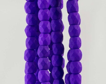 Firepolish Czech Faceted Neon Electric Purple Glass Beads 3mm (50)