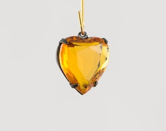 Topaz Glass Heart Pendants in 1 Loop Matte Black Setting 15mm hrt011D