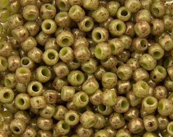 "Marbled Opaque Avocado / Pink Toho Seed Bead 11/0 2.5"" Tube TR-11-1209/C"