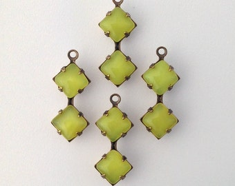 Yellow Moonglow Square Glass Stones Double 1 Loop Brass Ox Setting 6mm (4) squ014LL3