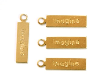 IMAGINE Rectangle Raw Brass Word Charm Drop with Loop (8) chr193P