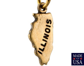 Brass Ox Tiny Illinois State Charm Drops (2) chr204G