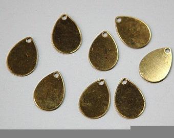 1 Hole Raw Brass Flat Teardrop Charms Drops (8) mtl202D