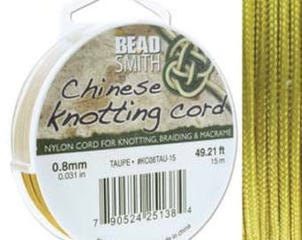 Taupe Chinese Knotting Cord (.8mm/.031in) 15m/16.4yds