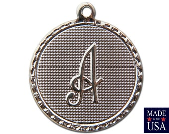 Silver Plated A Letter Charm Drop with Loop (1) chr221A
