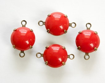 Vintage Opaque Red Glass Stones 2 Loop Brass Ox Settings rnd011J2