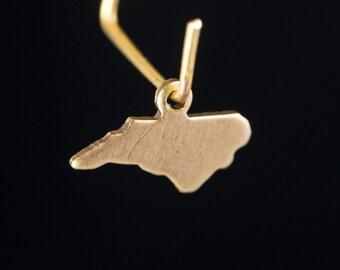 Raw Brass Tiny North Carolina Blank State Charm Drops (6) chr228DD