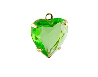 Vintage Faceted Peridot Glass Heart Pendants 1 Loop Gold Setting 12mm (4) hrt012G