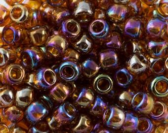 "Transparent Rainbow Smoky Topaz Toho Seed Bead (8g) 8/0 2.5"" Tube TR-08-177/C"