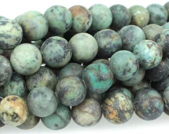 "Dakota Stones Matte African Turquoise 8mm Round Gemstones. 8"" Strand. ATQ8RD-M-8"