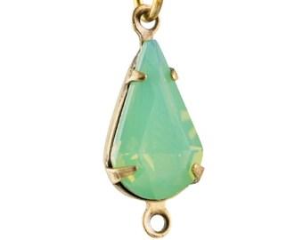 Green Opal Faceted Glass Teardrop Stone in 2 Loop Brass Ox Setting 13x8mm (4) par016AU2