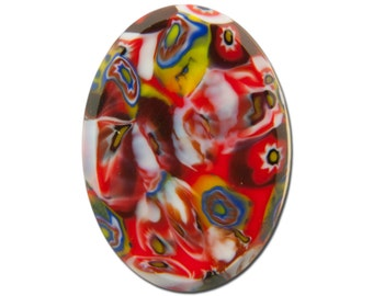 Vintage Red Millefiori Glass Cabochons Germany 25x18mm (1) cab845A