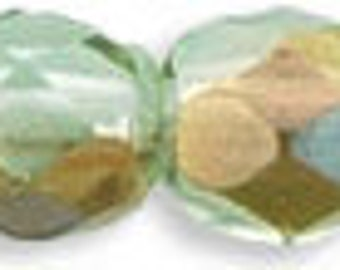 Czech Faceted Twilight Peridot Firepolish Glass Beads 4mm (50) 1-04-W5