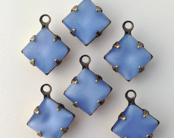 Light Blue Moonstone Square Glass Stones 1 Loop Brass Ox Setting 8mm (6) squ017AC
