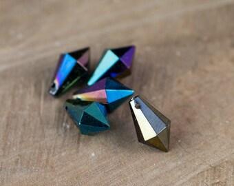 West Germany Vintage AB Black Faceted Prism Drops Charms bds803