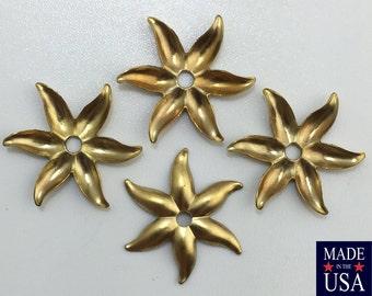 Raw Brass Flower Stamping Bead Cap Spacer 24mm (8) mtl025