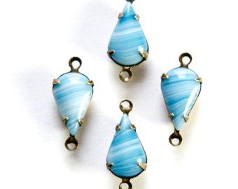 Vintage White with  Blue Glass Teardrop Stone 2 Loop Brass Ox Setting par016N2