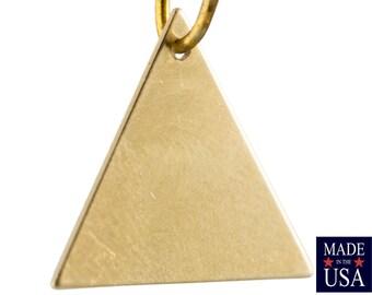 1 Hole Raw Brass Flat Triangle Charms Drops 17mm (6) mtl479J