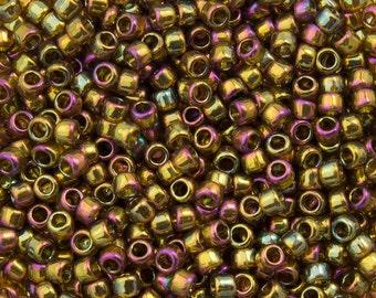 """Gold Lustered Dark Topaz Toho Seed Bead 15/0 2.5"""" Tube TR-15-459/C"""