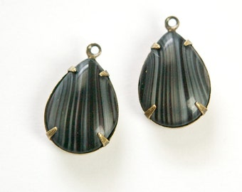 Vintage Gray Stripe Glass Teardrop Stones 1 Loop Brass Ox Setting 18x13mm par011X