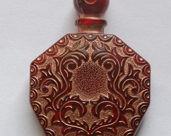 Vintage Ruby Red Copper Etched Faux Perfume Lucite Bottle Pendant pnd066