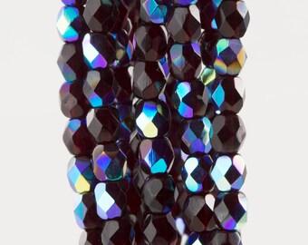 Czech Faceted Transparent Garnet AB Firepolish Glass Beads 4mm (50)