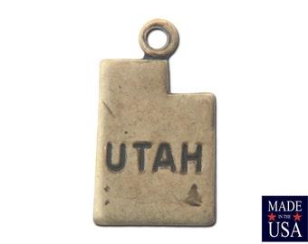 Brass Ox Tiny Utah State Charm Drops 13mm (6) chr203P