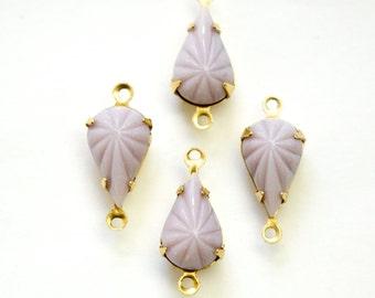 Vintage Opaque Etched Light Purple Glass Teardrop Stone 2 Loop Brass Setting par003AG2