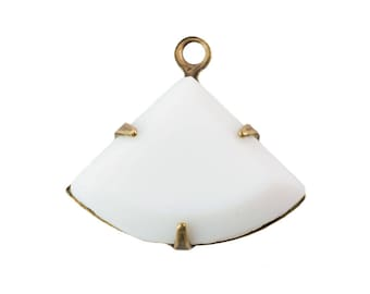 Opaque White Faceted Fan Pendant 1 Loop Brass Ox Setting 18x13mm (2) tri006C