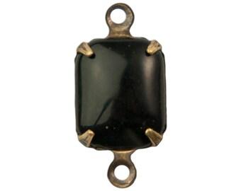 Vintage Black Set Stones in 2 Loop Brass Ox Setting 10x8mm (4) squ016Z2