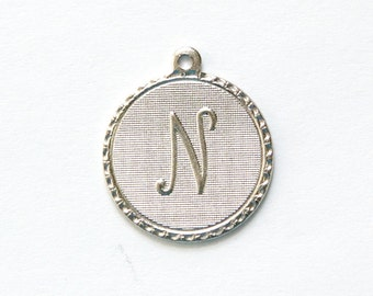 Matte Silver Plated Letter N Initial Charm Drop with Loop (1) chr197N