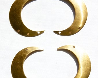 4 Hole Raw Brass Crescent BOTH Left and Right Pendant Hoops (4) mtl110A
