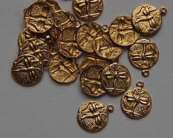 Raw Brass Tiny Dragonfly Charm Drops (8) chr051B